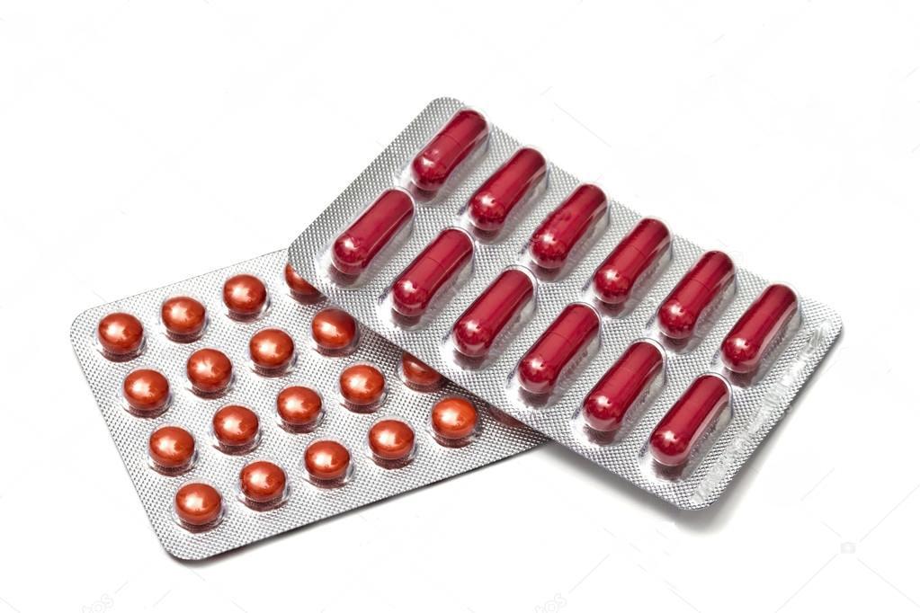Таблетки и капсулы красного